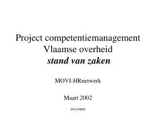 Project competentiemanagement Vlaamse overheid  stand van zaken