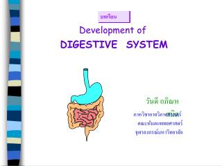 Development of DIGESTIVE  SYSTEM