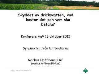 Skyddet av dricksvatten, vad kostar det och vem ska betala? Konferens HaV 18 oktober 2012