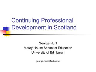 Continuing Professional Development in Scotland