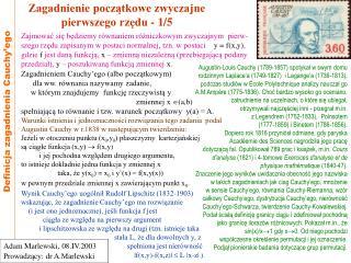 Zagadnienie początkowe zwyczajne  pierwszego rzędu - 1/5