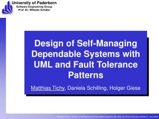 Design of Self-Managing Dependable Systems with UML and Fault Tolerance Patterns