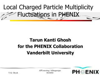Local Charged Particle Multiplicity Fluctuations in PHENIX