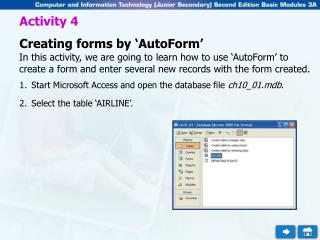 Activity 4 Creating forms by 'AutoForm'