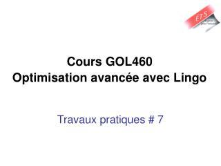 Cours GOL460  Optimisation avancée avec Lingo
