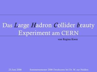 23.Juni 2006             Sommersemester 2006  Detektoren bei Dr. M. zur Nedden