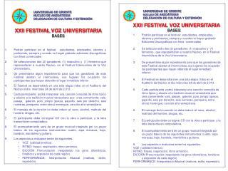 XXII FESTIVAL  VOZ UNIVERSITARIA BASES