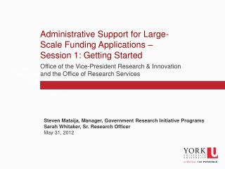 Administrative Support for Large-Scale Funding Applications – Session 1: Getting Started