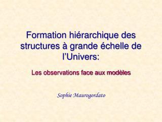 Formation hiérarchique des structures à grande échelle de l'Univers: