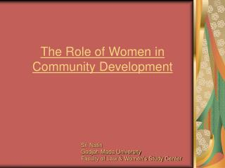 The Role of Women in Community Development