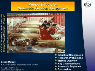 Industrial Background Research Problematic Method Overview Key Characteristics  Assembly Sequence  Conclusion
