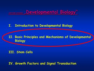 LECTURE COURSE  � Developmental Biology� Introduction to Developmental Biology
