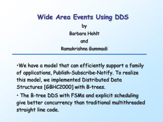 Wide Area Events Using DDS