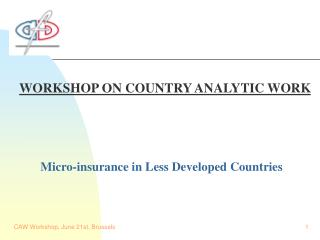 WORKSHOP ON COUNTRY ANALYTIC WORK