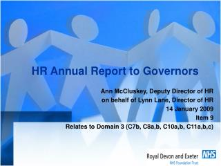 HR Annual Report to Governors