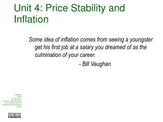 Unit 4: Price Stability and Inflation