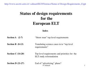Status of design requirements  for  the  European ELT