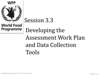 Developing the Assessment Work Plan and Data Collection Tools