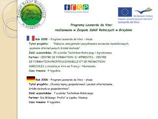 Programy Leonardo da Vinci    realizowane w Zespole Szkół Rolniczych w Grzybnie