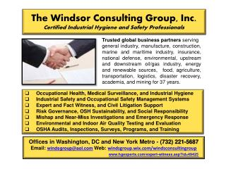 The Windsor Consulting Group, Inc. Certified Industrial Hygiene and Safety Professionals