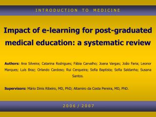 Impact of e-learning for post-graduated medical education: a systematic review