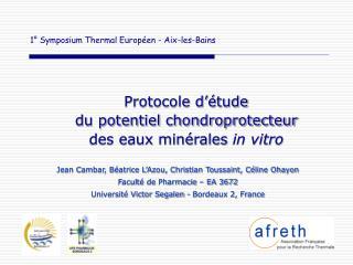 1  Symposium Thermal Europ en - Aix-les-Bains