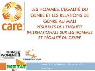 NAME OF CONFERENCE??, 19-20 Juin 2013 Lomé, Togo