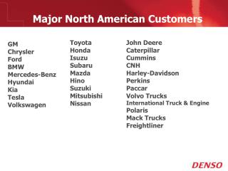 Major North American Customers