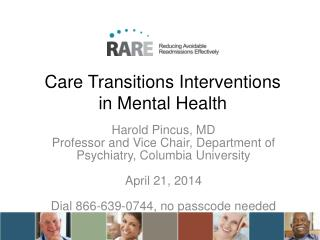 Care Transitions Interventions  in Mental Health