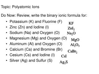 Topic:  Polyatomic Ions Do Now: Review, write the binary ionic formula for: