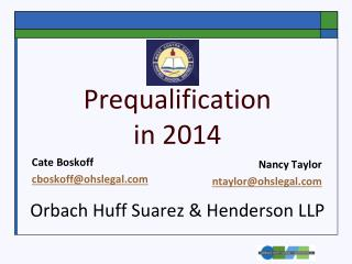 Prequalification in 2014