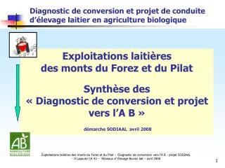 Diagnostic de conversion et projet de conduite d��levage laitier en agriculture biologique
