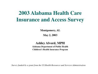 2003 Alabama Health Care Insurance and Access Survey Montgomery, AL  May 2, 2003