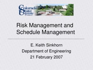 Risk Management and Schedule Management