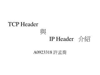TCP Header 與 IP Header    介紹