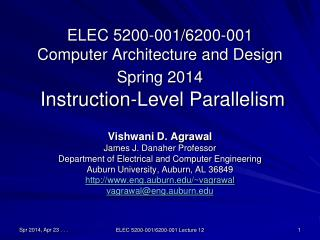 ELEC 5200-001/6200-001 Computer Architecture and Design Spring 2014  Instruction-Level Parallelism