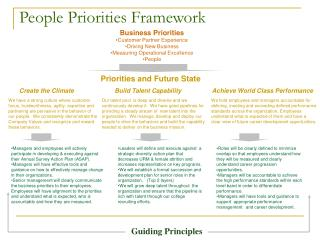 People Priorities Framework