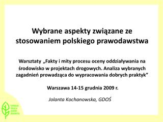 Jolanta Kochanowska, GDOŚ