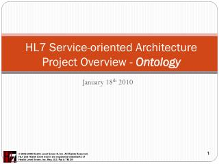 HL7 Service-oriented  Architecture  Project Overview -  Ontology