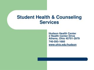 Student Health  Counseling Services