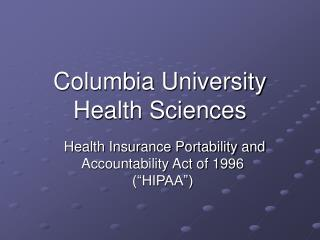 Columbia University Health Sciences