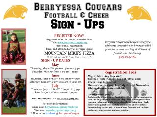 SIGN – UP DATES May Thursday, May 10 th  & 31st 6:00 pm to 7:30pm