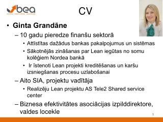 Ginta Grandāne 10 gadu pieredze finanšu sektorā