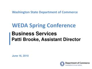 Washington State Department of Commerce WEDA Spring Conference