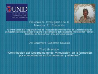 Protocolo de  Investigación de  la Maestría   En  Educación