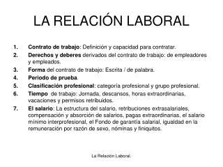 LA RELACIÓN LABORAL