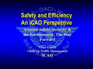 Aviation Safety, Security & the Environment: The Way Forward Vince Galotti