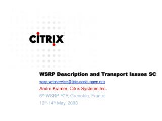 WSRP Description and Transport Issues SC