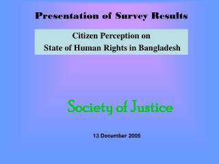 Presentation of Survey Results