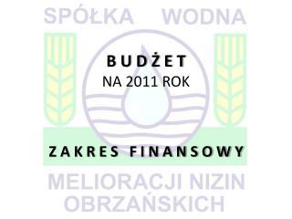 B U D Ż E T NA 2011 ROK Z A K R E S   F I N A N S O W Y